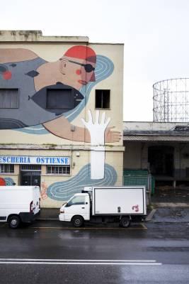 A neighbourhood street mural