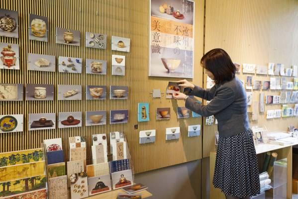 Mamiko Arakawa stocks postcards for a new exhibition at the Nezu Art Museum