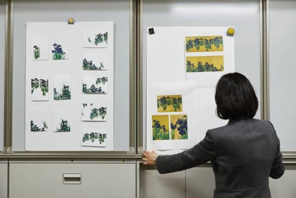 Mamiko Arakawa with postcard proofs