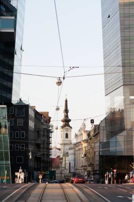 Tramlines on a Leopoldstadt street