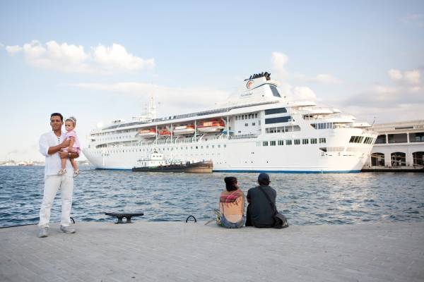 A cruise ship arriving in the port