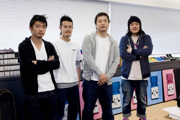 The web team: Hiroaki Endo, Atsushi Sato, Jun Watanabe (web design director), Daisuke Sato
