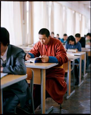 Monk in Ulan Bator's central library
