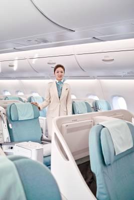 Flight attendant in business class