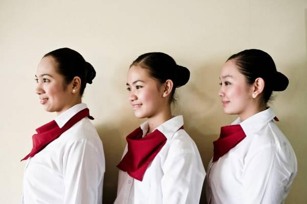 Student waitresses at Punlaan School