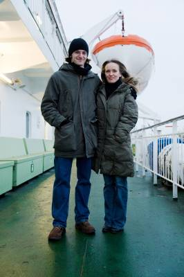 Passengers Hugo Van Kemenade and Saana Janhila on deck