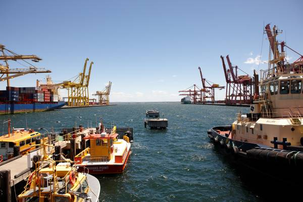 International shipping terminal at Port Botany, Sydney.  Eighty per cent of Port Botany's wool exports are for the Chinese market