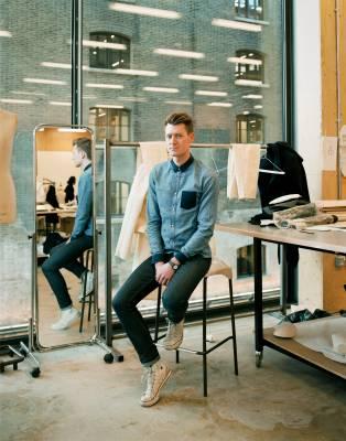 Philip Strawbridge, BA Menswear, UK, in the menswear studio
