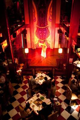 Dance performance at an upscale hotpot restaurant
