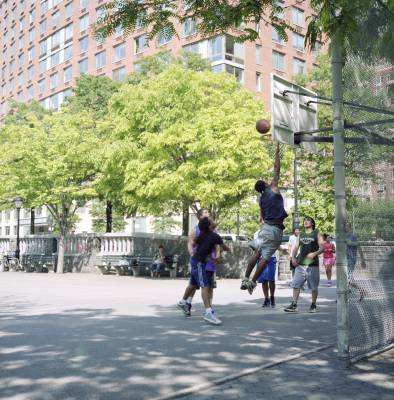 Playing basketball by the Hudson River