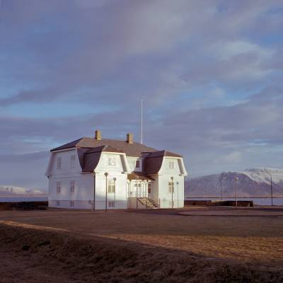 A typical Icelandic building close to the coast