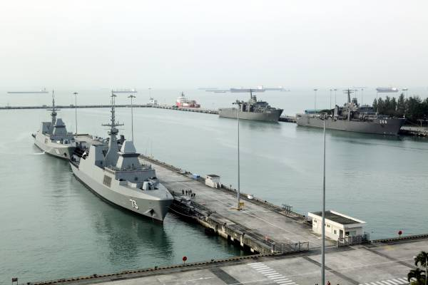 A view over frigates docked at the Changi naval base