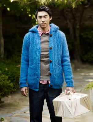 Cardigan by The Inoue Brothers, jumper by Dior Homme, shirt by J.Crew, jeans by Post O'alls