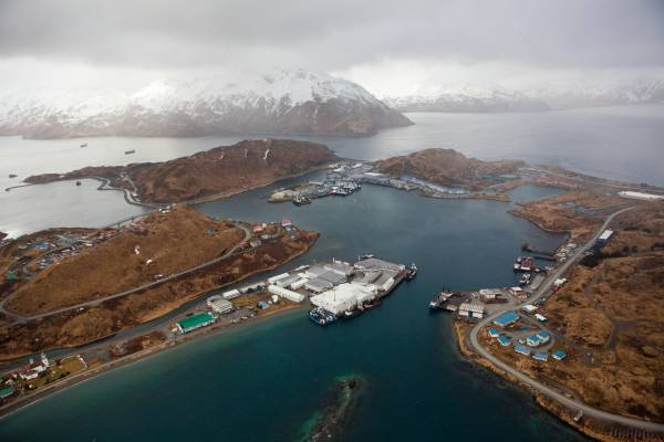 Aerial view of Unalaska and neighbouring Amaknak Island