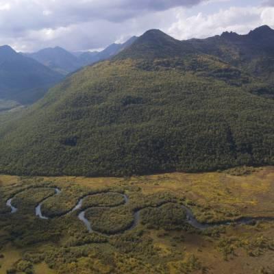 A river winds through a valley near Petropavlovsk