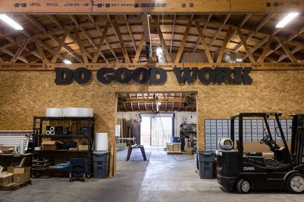 Interior of Nathanael Balon's workshop, 'Woodsmithe'