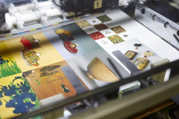 Postcards on press