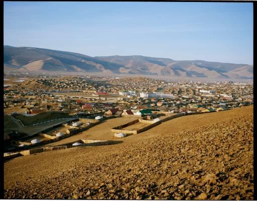 Suburbs of Ulan Bator, where tented communities border houses