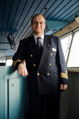 Owe Eglund on the ship's bridge