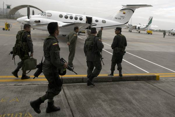 Anti-narcotics forces at Bogotá airport before leaving for an operation