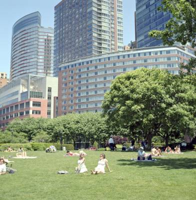 Green fields at Battery Park City