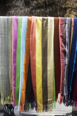 Scarves at the Monitaly stand handwoven by indigenous Mexicans