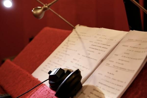Voice actor's earpiece