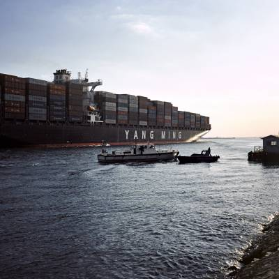 Ship exits Suez Canal into Gulf of Suez