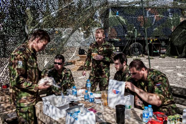 The launch crew tuck into a US Air Force-supplied lunch
