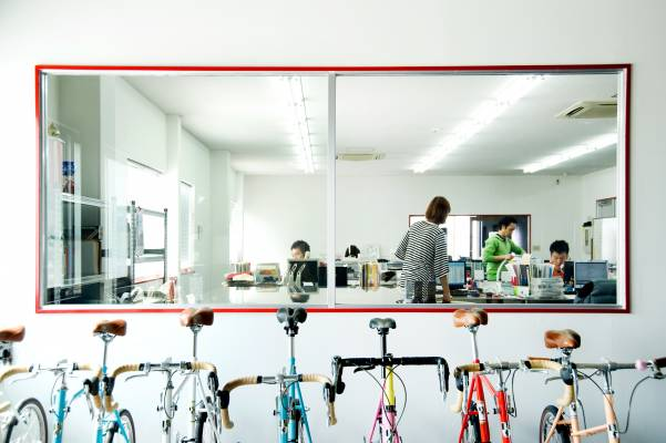 Bikes lined up outside the Diatech office