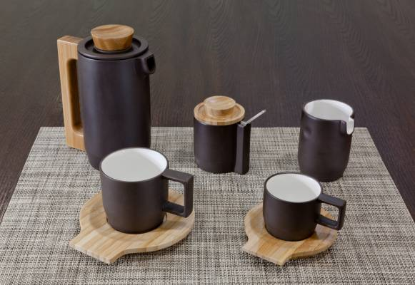 Purple clay coffee set by Jia
