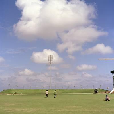 The Suriyawewa International Cricket Stadium in Hambantota, which hosted matches in February's World Cup