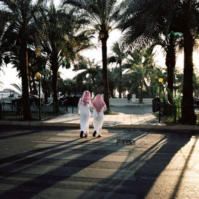 Locals take a stroll near Aqaba's waterfront