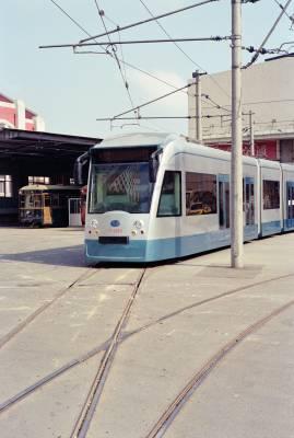 Light rail trams run on original trolley lines