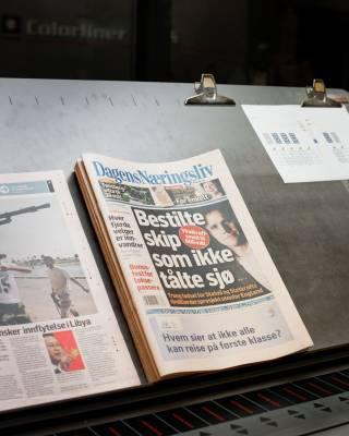 A 'Dagens Næringsliv' front page