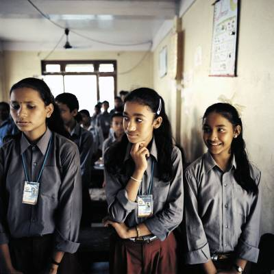 Girls at a school funded by the owners of the SN Power Khimti hydro plant