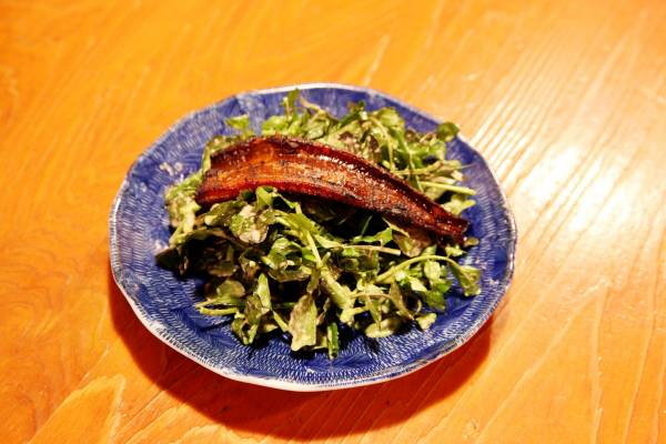 Salad of grilled anago (sea eel) on watercress