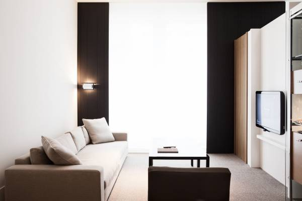 The furniture in the rooms is made to residential scale