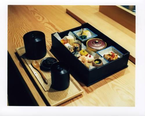 Bento box of tofu and miso soup