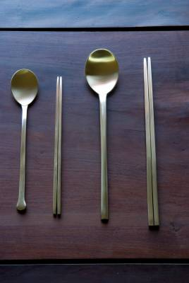 Tableware – Korean chopsticks are traditionally flat and made of metal