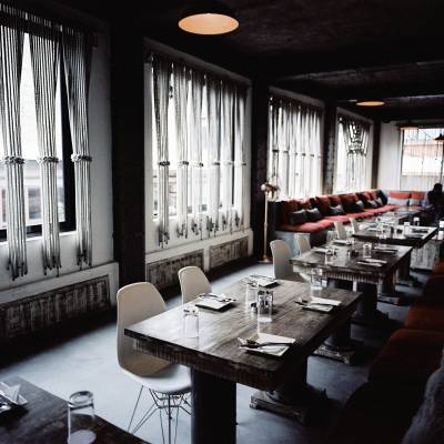 Dining tables at The Factory, Kathmandu's newest restaurant and bar