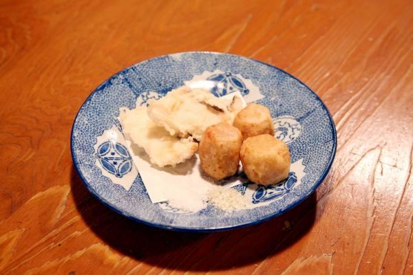 Tai (sea bream) tempura and deep-fried sato-imo (taro root)