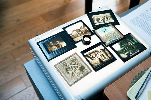 'Magic lantern' slides used for their book 'Memories of a Lost World'