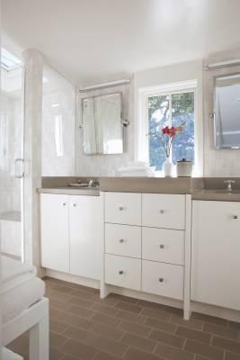 Bathroom with grey tiling