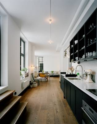 Wester's open-plan kitchen and living room