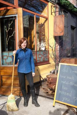 Clean sweep: Denise Carbonell outside Metal and Thread