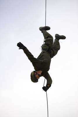 Rappelling is taught to descend from helicopters