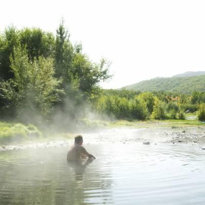 Enjoying the thermal bath at Malki