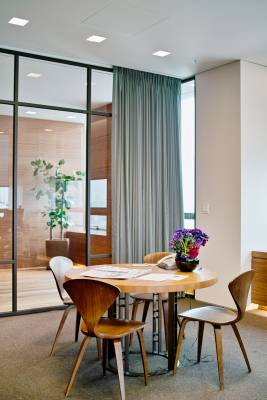 Executive offices use mid-century chairs by Norman Cherner