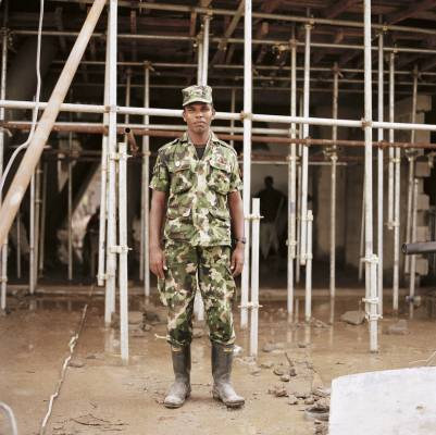 Sri Lankan army soldier drafted in to help build the cricket stadium